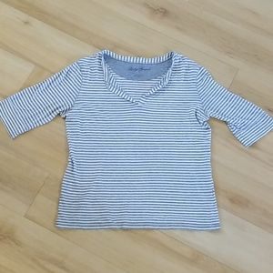 Lucky Brand gray & White Striped top Size L